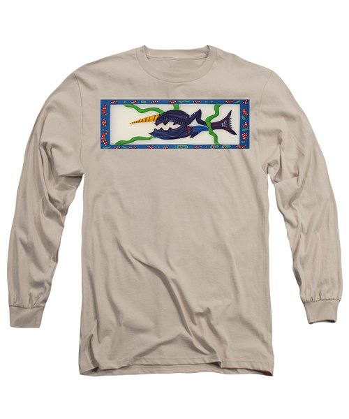 Long Sleeve T-Shirt featuring the sculpture My First Fish Dinner by Robert Margetts