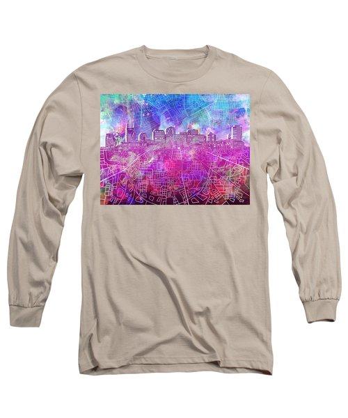 Nashville Skyline Watercolor Long Sleeve T-Shirt