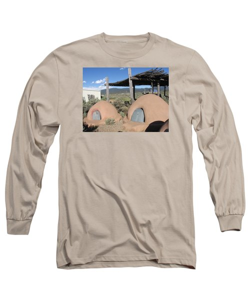 Long Sleeve T-Shirt featuring the photograph Native American Adobe Ovens In New Mexico by Dora Sofia Caputo Photographic Art and Design