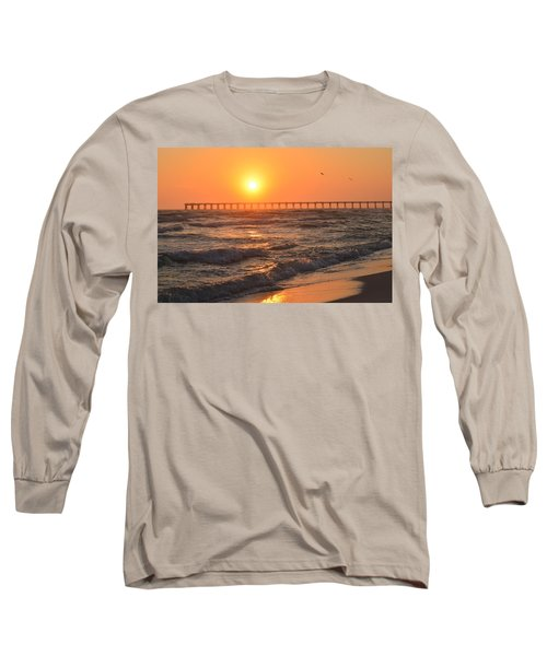 Long Sleeve T-Shirt featuring the photograph Navarre Beach And Pier Sunset Colors With Birds And Waves by Jeff at JSJ Photography