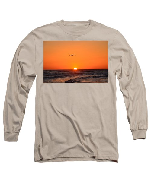 Long Sleeve T-Shirt featuring the photograph Navarre Beach Sunrise Waves And Bird by Jeff at JSJ Photography