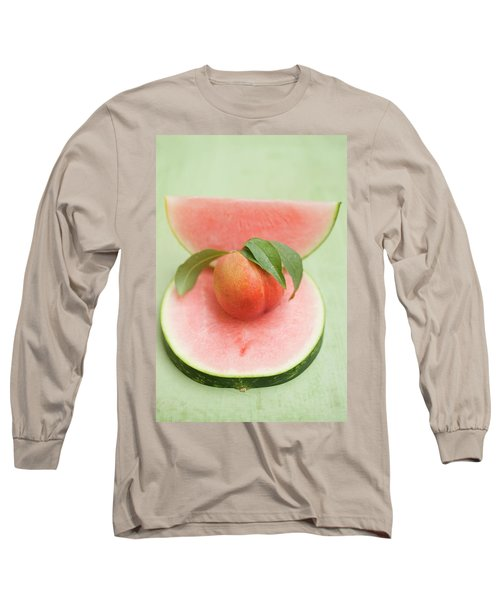 Nectarine With Leaves, Slice And Wedge Of Watermelon Long Sleeve T-Shirt