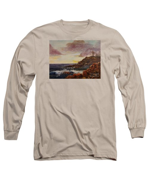 Long Sleeve T-Shirt featuring the painting New England Storm by Lee Piper