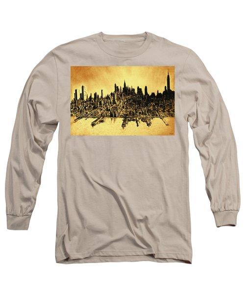 New York Skyline 78 - Mid Manhattan Ink Watercolor Painting Long Sleeve T-Shirt