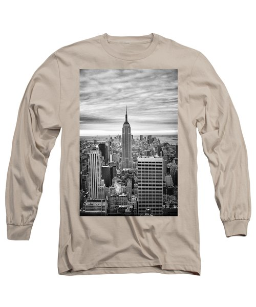 Black And White Photo Of New York Skyline Long Sleeve T-Shirt