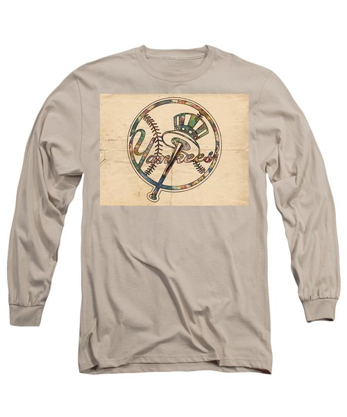 New York Yankees Poster Vintage Long Sleeve T-Shirt by Florian Rodarte