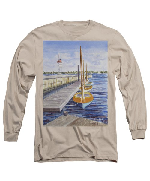 Long Sleeve T-Shirt featuring the painting Newport Boats In Waiting by Carol Flagg