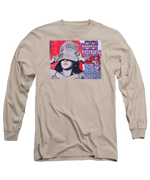 Long Sleeve T-Shirt featuring the photograph Shepard Fairey Graffiti Andre The Giant And His Posse Wall Mural by Kathy Barney