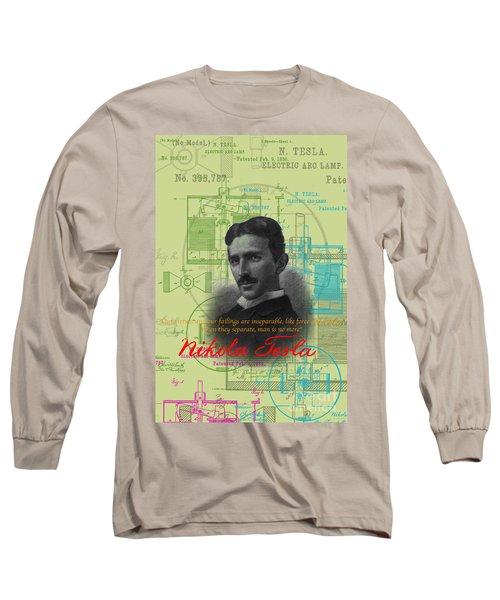 Nikola Tesla #3 Long Sleeve T-Shirt by Jean luc Comperat