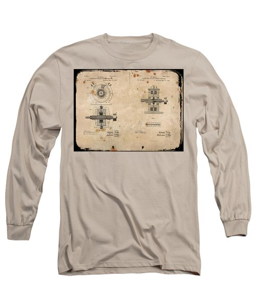 Nikola Tesla's Alternating Current Generator Patent 1891 Long Sleeve T-Shirt