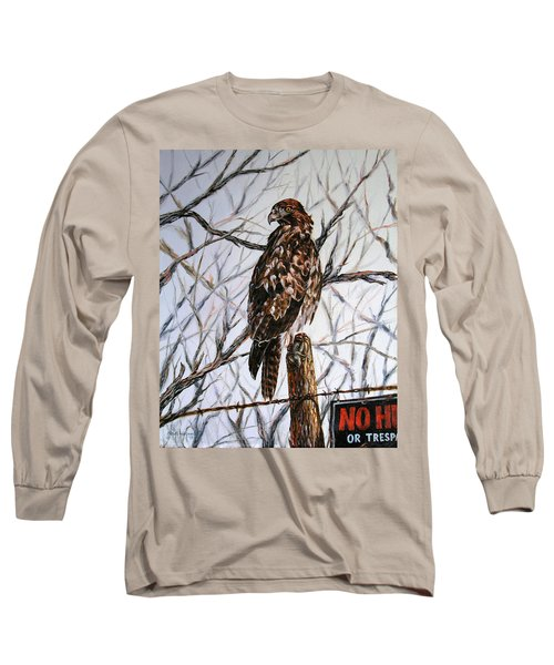 Long Sleeve T-Shirt featuring the painting No Hunting by Craig T Burgwardt