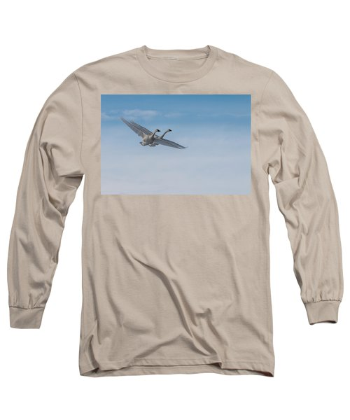 Trumpeter Swans Tandem Flight Long Sleeve T-Shirt by Patti Deters