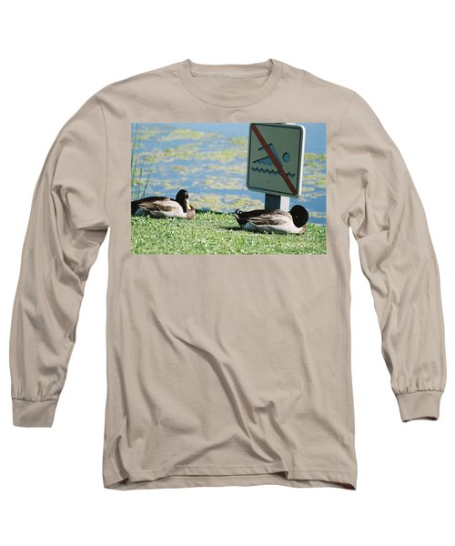 Long Sleeve T-Shirt featuring the photograph No Swimming by Kerri Mortenson