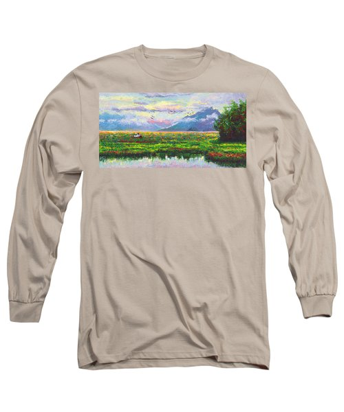 Nomad - Alaska Landscape With Joe Redington's Boat In Knik Alaska Long Sleeve T-Shirt