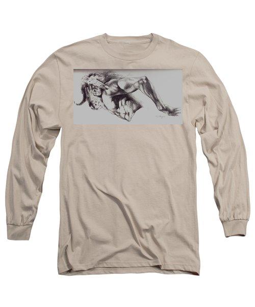 North American Minotaur Pencil Sketch Long Sleeve T-Shirt by Derrick Higgins