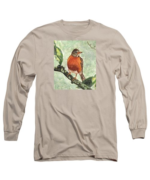 Long Sleeve T-Shirt featuring the painting North American Robin by Angela Davies