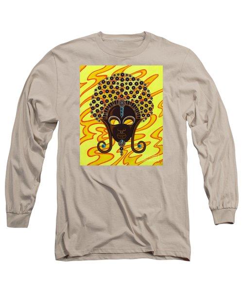 Nubian Modern Afro Mask Long Sleeve T-Shirt by Joseph Sonday
