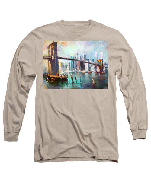 Ny City Brooklyn Bridge II Long Sleeve T-Shirt by Ylli Haruni