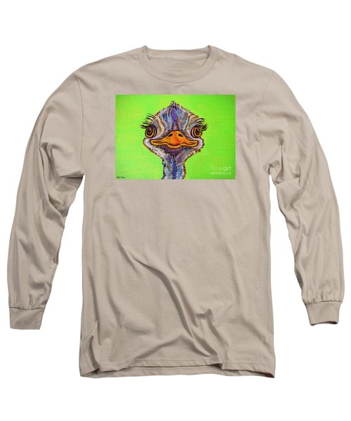 Long Sleeve T-Shirt featuring the painting O For Ostrich by Ella Kaye Dickey