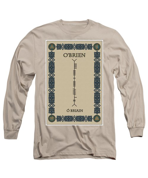 Long Sleeve T-Shirt featuring the digital art O'brien Written In Ogham by Ireland Calling