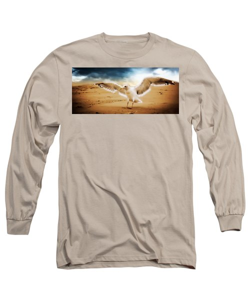 Blue Long Sleeve T-Shirt featuring the photograph Ocean Landing by Aaron Berg