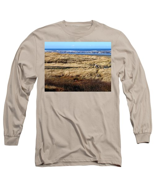 Long Sleeve T-Shirt featuring the photograph Ocean Shores Boardwalk by Jeanette C Landstrom