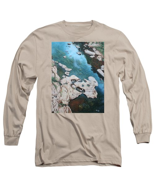 Long Sleeve T-Shirt featuring the painting Ocoee River Low Tide by Mike Ivey