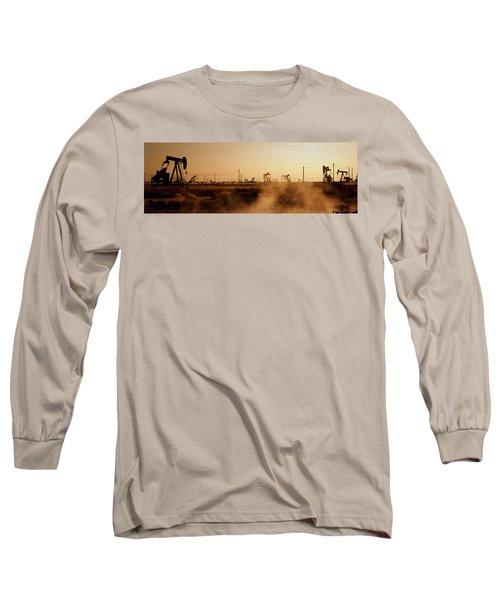 Oil Drills In A Field, Maricopa, Kern Long Sleeve T-Shirt