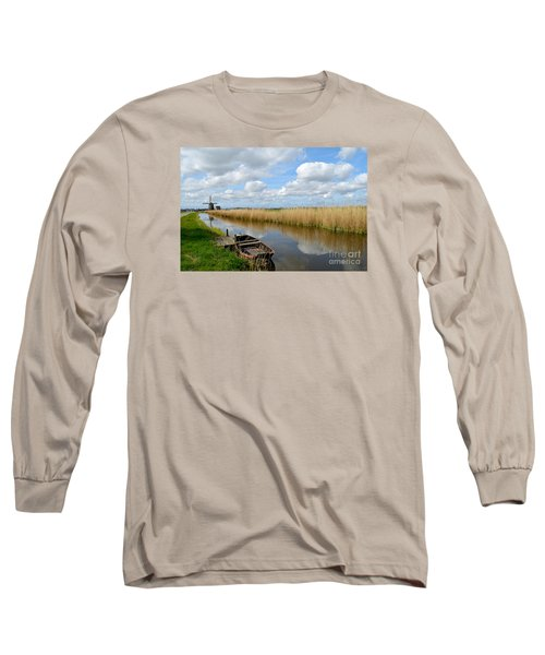 Old Boat In A Canal In Holland Long Sleeve T-Shirt by IPics Photography