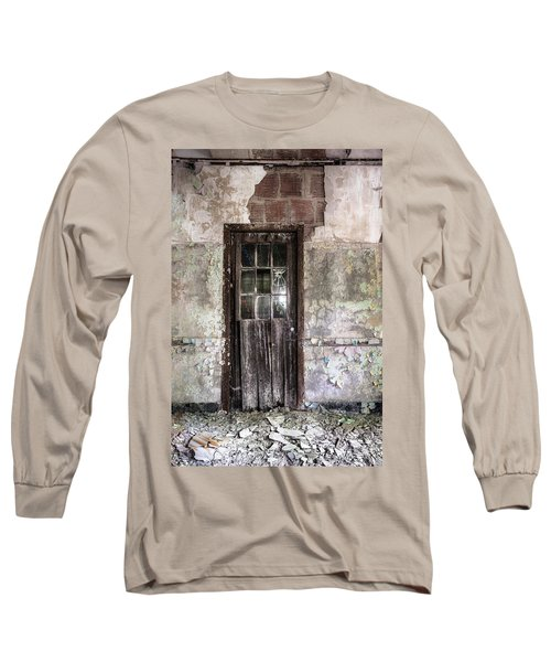Long Sleeve T-Shirt featuring the photograph Old Door - Abandoned Building - Tea by Gary Heller