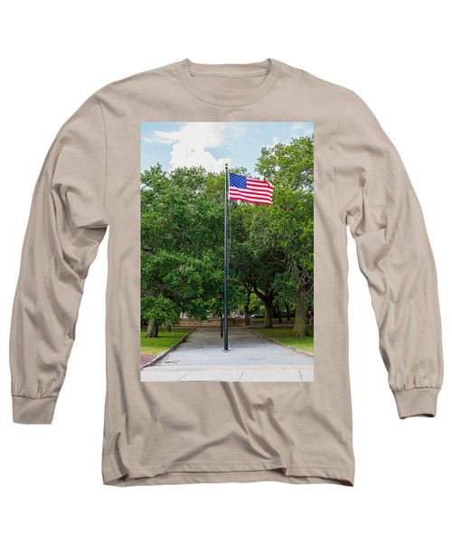 Long Sleeve T-Shirt featuring the photograph Old Glory High And Proud by Sennie Pierson