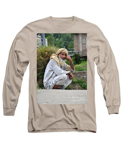 Old Man Carrying Fodder Swat Valley Kpk Pakistan Long Sleeve T-Shirt by Imran Ahmed