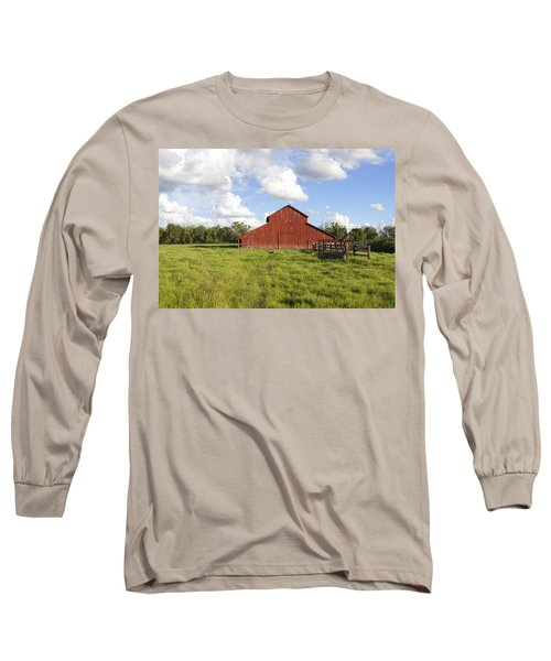 Long Sleeve T-Shirt featuring the photograph Old Red Barn by Mark Greenberg