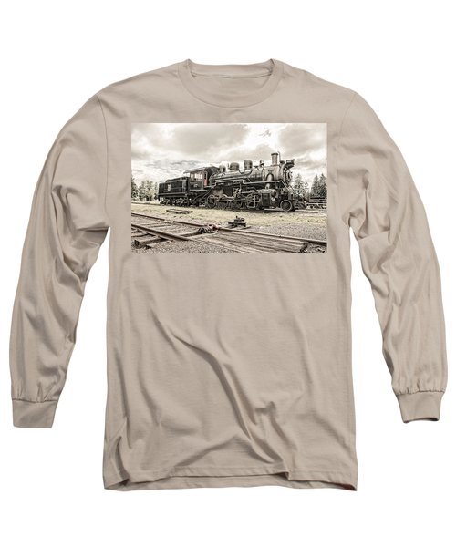 Long Sleeve T-Shirt featuring the photograph Old Steam Locomotive No. 97 - Made In America by Gary Heller