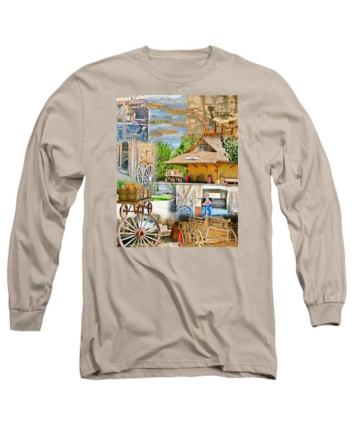 Old West Collage Long Sleeve T-Shirt by Marilyn Diaz