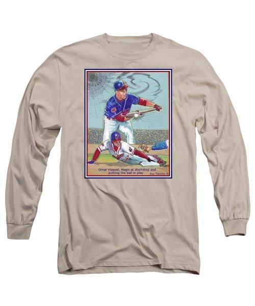 Omar Vizquel Shortstop Magic Long Sleeve T-Shirt by Ray Tapajna