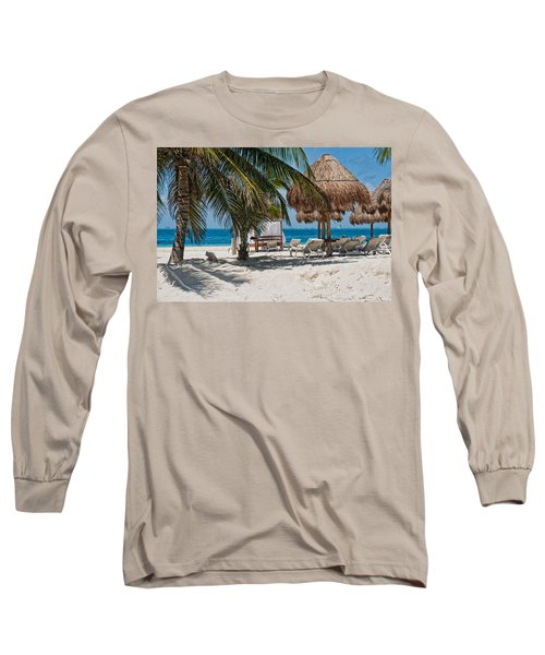 White Sandy Beach In Isla Mujeres Long Sleeve T-Shirt