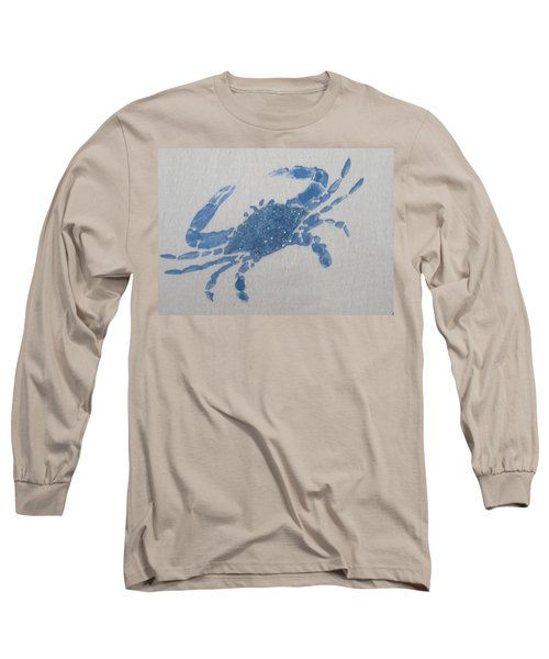 One Blue Crab On Sand Long Sleeve T-Shirt