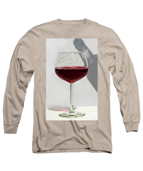 One Glass Of Red Wine With Bottle Shadow Art Prints Long Sleeve T-Shirt by Valerie Garner
