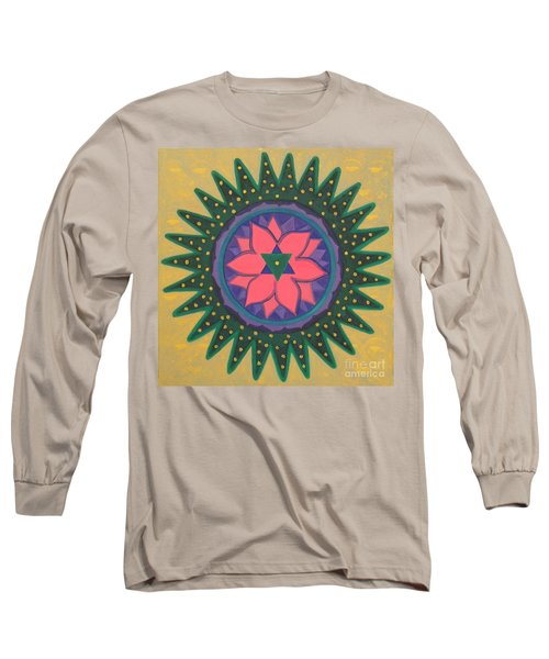 Long Sleeve T-Shirt featuring the painting One Gold Bindu by Mini Arora