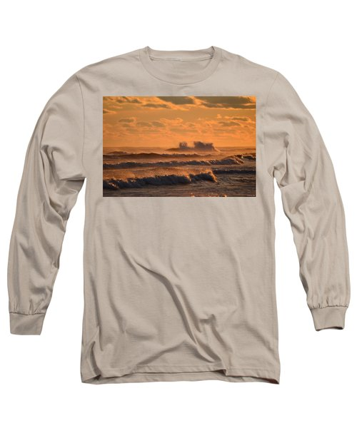 Long Sleeve T-Shirt featuring the photograph Opal Beach Sunset Colors With Huge Waves by Jeff at JSJ Photography