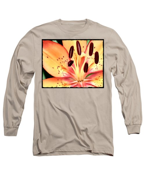 Orange And Pink Flower Long Sleeve T-Shirt