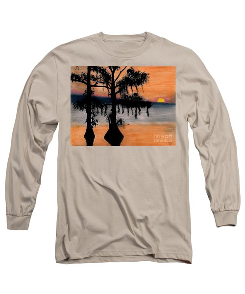 Long Sleeve T-Shirt featuring the drawing Orange Cypress Sunset by D Hackett