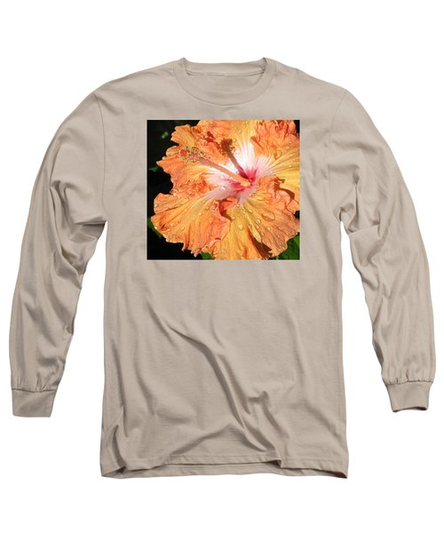 Long Sleeve T-Shirt featuring the photograph Orange Hibiscus After The Rain by Connie Fox