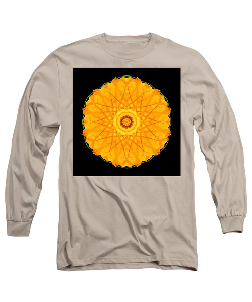 Orange Nasturtium Flower Mandala Long Sleeve T-Shirt