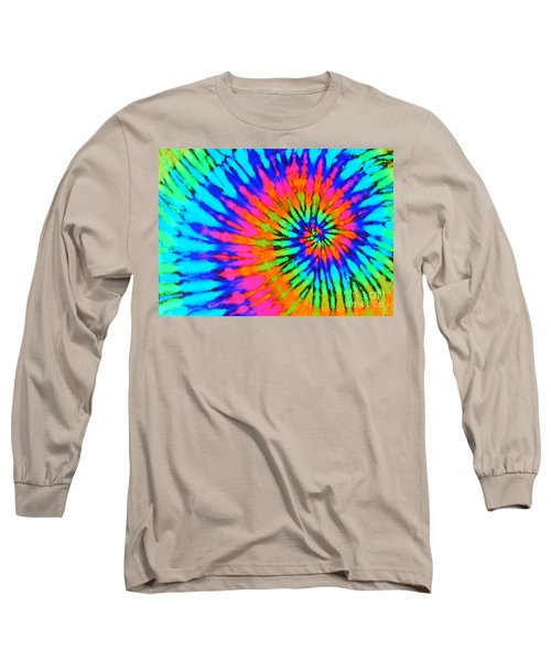 Orange Pink And Blue Tie Dye Spiral Long Sleeve T-Shirt by Catherine Sherman