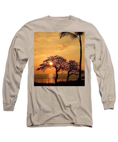 Orange Sunset Long Sleeve T-Shirt by Pamela Walton