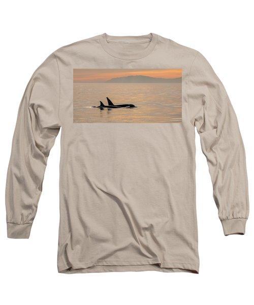 Orcas Off The California Coast Long Sleeve T-Shirt