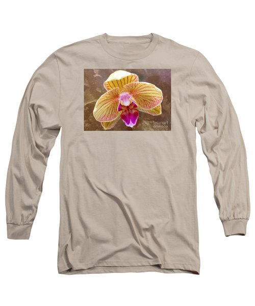 Orchid On Marble Long Sleeve T-Shirt by Barbie Corbett-Newmin