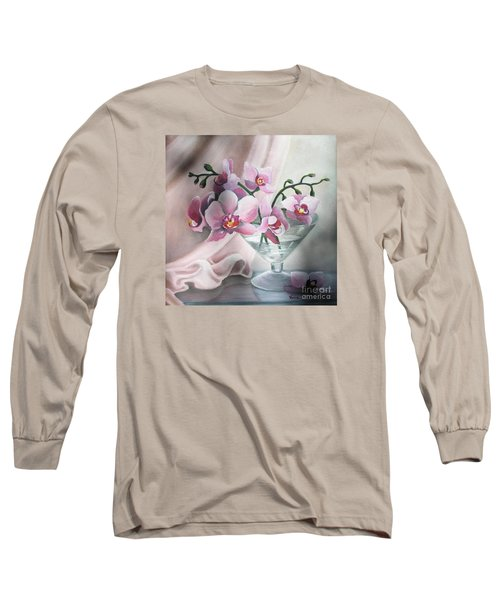 Long Sleeve T-Shirt featuring the painting Orchids by Vesna Martinjak